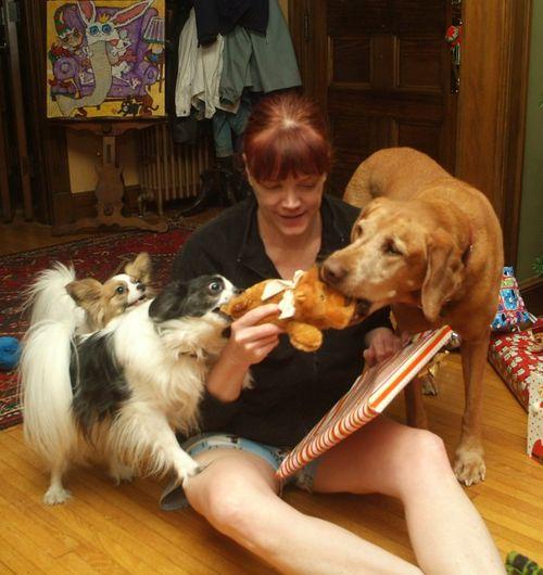 Zoe and kids at christmas